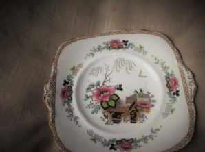 VINTAGE UNUSUAL PARAGON STAR CHINA TAB CAKE PLATE ORIENTAL FISHERMEN FLORAL